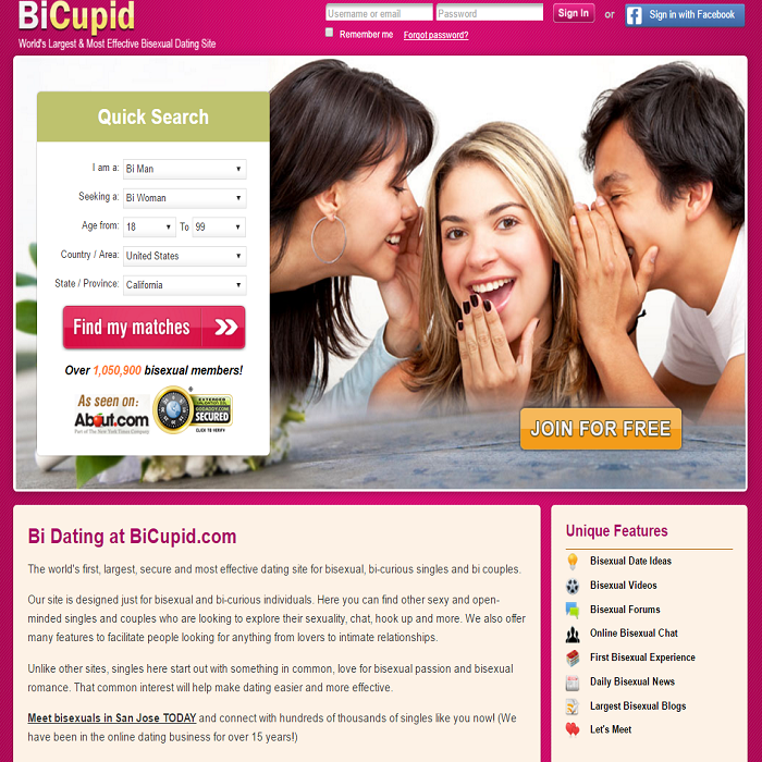 Bicupid.com Homepage